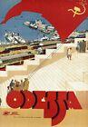 "Vintage Illustrated Travel Poster CANVAS PRINT Odessa Ukraine 24""X18"""