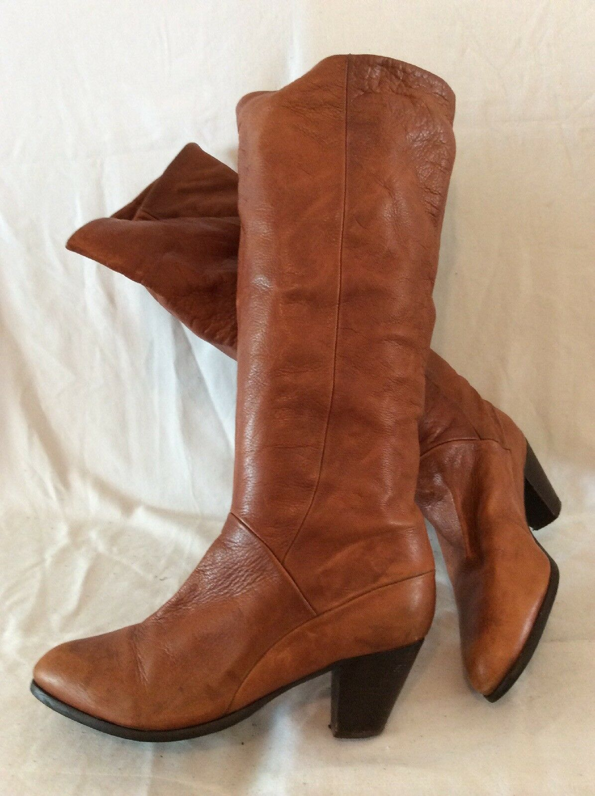 Office Brown Knee High Leather Boots Size 41