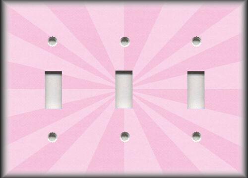 Sunburst Pattern Home Decor Pink Metal Light Switch Plate Cover