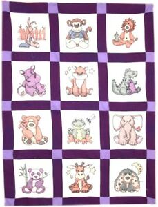 Fairway-Stamped-Embroidery-Pack-Baby-Quilt-Blocks-Set-12-STUFFED-ANIMAL-92357