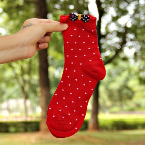 Lovely Fashion Socks With Dots /& Bows Details Ladies Womens Socks Combed Cotton