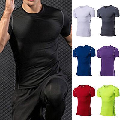 Herren Kurzärmlige Sportbekleidung Fitnessmode Kompression Sporttops Gym T-shirt