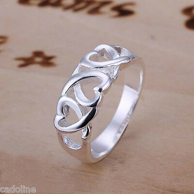*UK* 925 SILVER PLT WOVEN INTERTWINED LOVE HEART BAND RING FLOW WAVE JOIN TWIST
