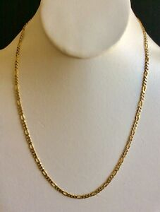 14K 2-Tone Gold 2.40mm Figaro Pave Chain Necklace