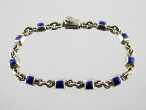 Vintage-TS-142-Taxco-Mexico-Sterling-Silver-Lapis-Lazuli-Link-Bracelet-925-7-In