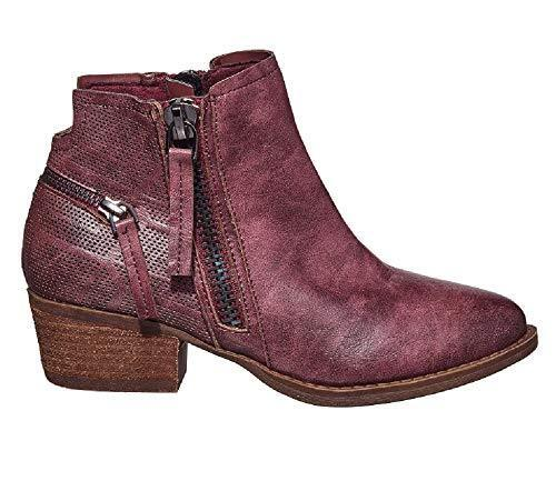 Very G Betty Short Chic Pair Of Ankle Boots Double Side Zipper Vglb0001 Wine 9.5