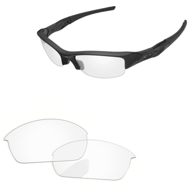 fe1db10136d PapaViva Crystal Clear Replacement Lenses for-Oakley Flak Jacket Sunglasses
