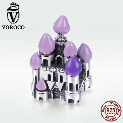 Voroco Princesse Du Château 925 Sterling Silver Charm violet Perles Pour Fille Bracelet
