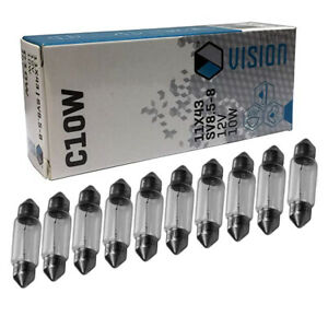 10-trozo-c10w-10-vatios-12v-42-44mm-soffitte-lampara-matricula-pera-Long-Life