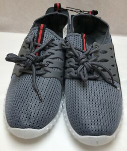 size 9 men's active casual sneakers shoes gray  white
