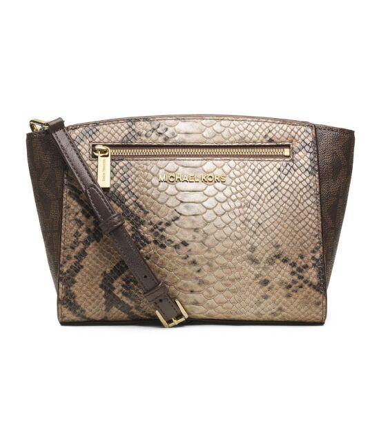 Michael Kors Sophie Medium Satchel Purse Bag Python Print Sand 30t4mohm2v