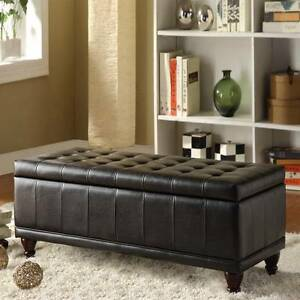 Enjoyable Details About 42 Lift Top Tufted Storage Bench Dark Espresso Faux Leather Ottoman Machost Co Dining Chair Design Ideas Machostcouk