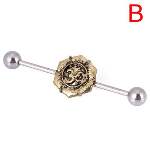 Women Surgical Steel Industrial Bar Scaffold Ear Barbell Ring Piercing Jewe LA