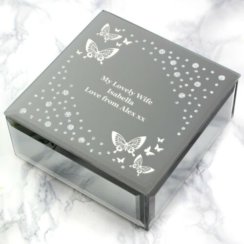 Personalised Any Message White Butterfly Diamante Glass Trinket Box Sister Mum