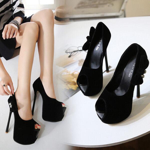 Sandali stiletto decolte 14 cm nero nero plateau simil pelle eleganti 1211