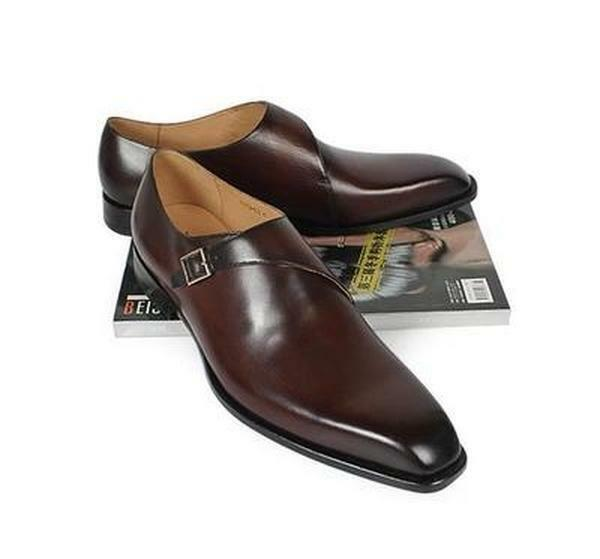 Handmade Mens brown formal monk shoes, Men brown dress shoes, Men leather shoes