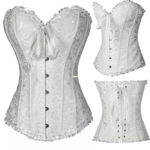 Jacquard Bustier Corset Top Burlesque Basque Moulin Boned Fancy Dress Costume UK