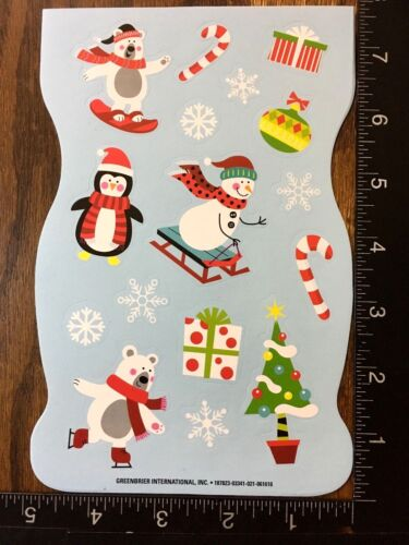 CHRISTMAS STICKERS SNOWMAN BEAR ORNAMENTS  SHEET BEAUTIFUL STICKERS #SANTA13