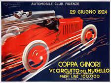 VINTAGE 1924 FLORENCE COPPA GINORI AUTO RACING POSTER PRINT 36x48 BIG