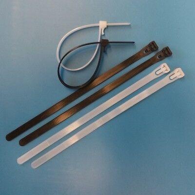 100 x Kabelbinder lösbar 7,6x200mm natur oder schwarz extra stark!!