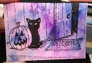 Original-ACEO-Art-Card-2-5-x-3-5-Watercolor-HALLOWEEN-Theme-Black-Cat