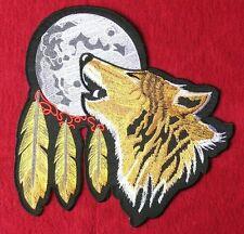 XXL Aufnäher Aufbügler Wolf Mond Motorrad Indianer Biker Rider Kraft Tier Patch