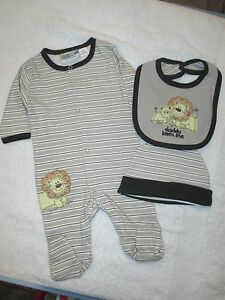 BABY BOYS 3PC OUTFIT CHOCOLATE BROWN & WHITE  LION ON THE FRONT SIZES 000 00 0 1