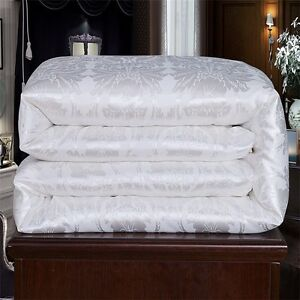 100 jacquard mulberry silk summer full queen king quilt comforter in white ebay. Black Bedroom Furniture Sets. Home Design Ideas
