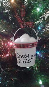 Snow Balls 5 Cents Mini Metal Pail Handmade Christmas Ornament With Plaid Ribbon