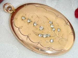 C1905 ANTIQUE 12K ROSE & YELLOW GOLD GF JEWELLED LILY OF THE VALLEY PHOTO LOCKET