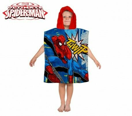 MV92261 Albornoz con capucha de algodón con motivo de Spiderman 120x60cm