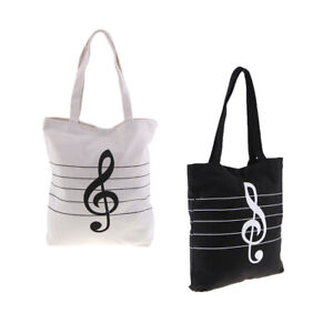 Music-Theme-Tote-Handbag-Girls-Shoulder-Bag-Reusable-Shopping-Grocery-Bag