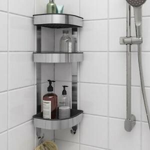 Details About Ikea Brogrund Shower Rack Steel 3 Tier Bathroom Corner Wall Shelf Uk Rv