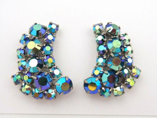 VTG Juliane Earrings AB Blue Glass Rhinestones Cli