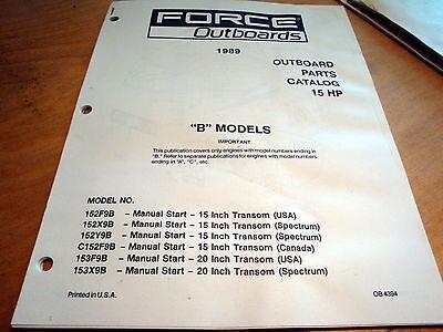 Force 15 Hp 15hp B Outboard Motor Parts Catalog Manual 1989 Marine