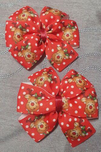 2x Girls Pinwheel Hair Bow Clips Christmas Xmas Reindeer Red nose rudolph