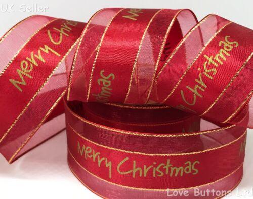 De Lujo 38mm Oro Feliz Navidad Cinta de Raso /& PURA rojo festivo 1m longitudes