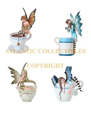 Set of 4 Amy Brown Fairies Green Tea Warm Toes Coffee Hot Cocoa Fairy Sculpture