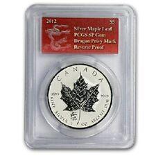 2012 Canadian Maple Leaf Dragon Privy 1 oz .9999 Silver Coin - SP GEM PCGS