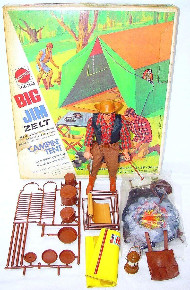 Mattel USA BIG JIM 10  COWBOY & FIELD CAMPIN' TENT Set + Action Figure & NMIB`76