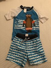 f34739f85b Gymboree Toddler Boy Blue White Swim Trunks Shorts Pants Rash Guard Shirt  Top 2T
