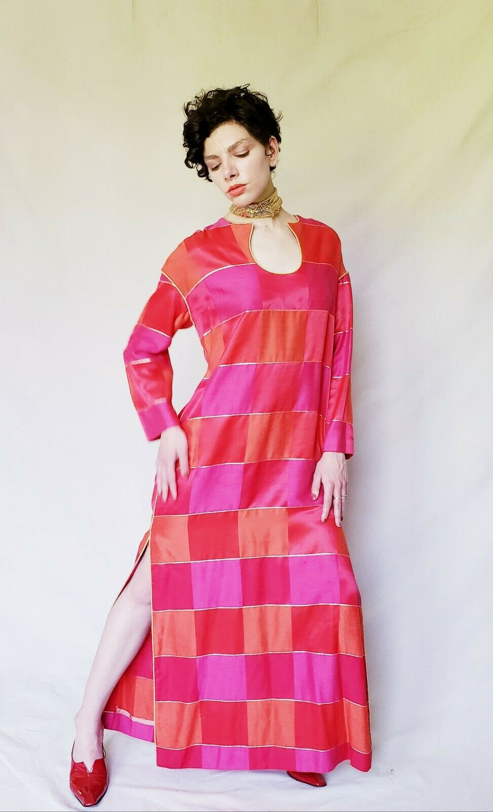 1960s Red Caftan Maxi Dress Patchwork Squares Pin… - image 9
