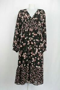 Michael-Kors-Polyester-Black-and-Pink-Floral-Dress-XL