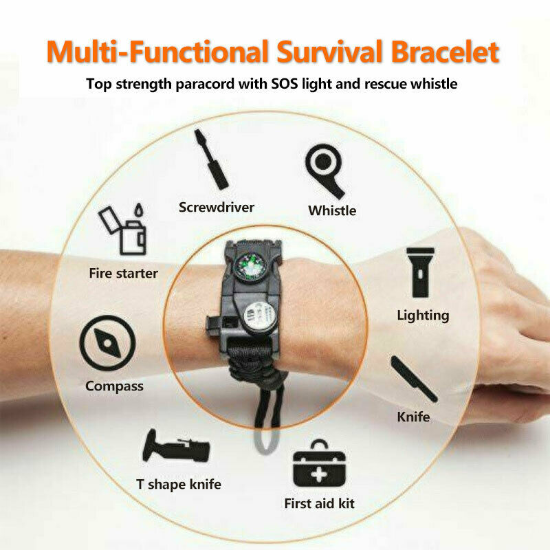 Emergency Whistle Survival Compass Light Fire Starter Camping Multi Tool 7 in 1