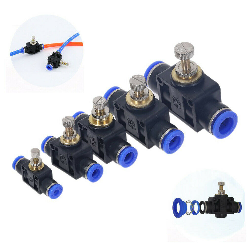 "3//8/"" OD x 3//8/"" NPT Air Flow Speed Control Push in to Connect Elbow Pack of 10"