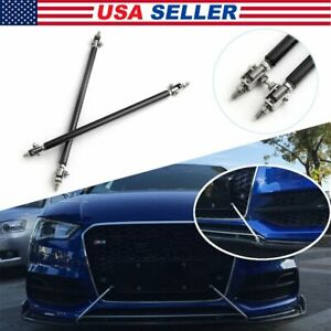 Black-Adjustable-Front-Bumper-Lip-Splitter-Strut-Rod-Tie-Support-Bar-For-T
