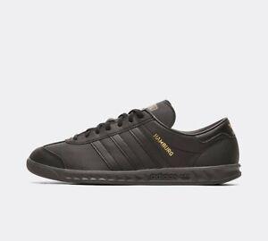 Adidas Hommes Originaux Hamburg Chaussures Baskets Cuir en Noir