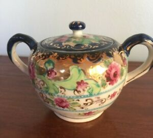 Vintage Hand Painted Cobalt and Rose Covered Sugar Bowl