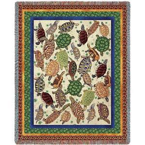 """NWT Turtles, Tortoises, Terrapins Woven TAPESTRY THROW AFGHAN BLANKET 54"""" x 70"""""""