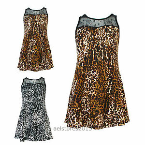Neuf-Filles-Enfants-Imprime-Leopard-Retro-Robe-Avec-Filet-Haut-Age-Taille-Age-3-6-Ans
